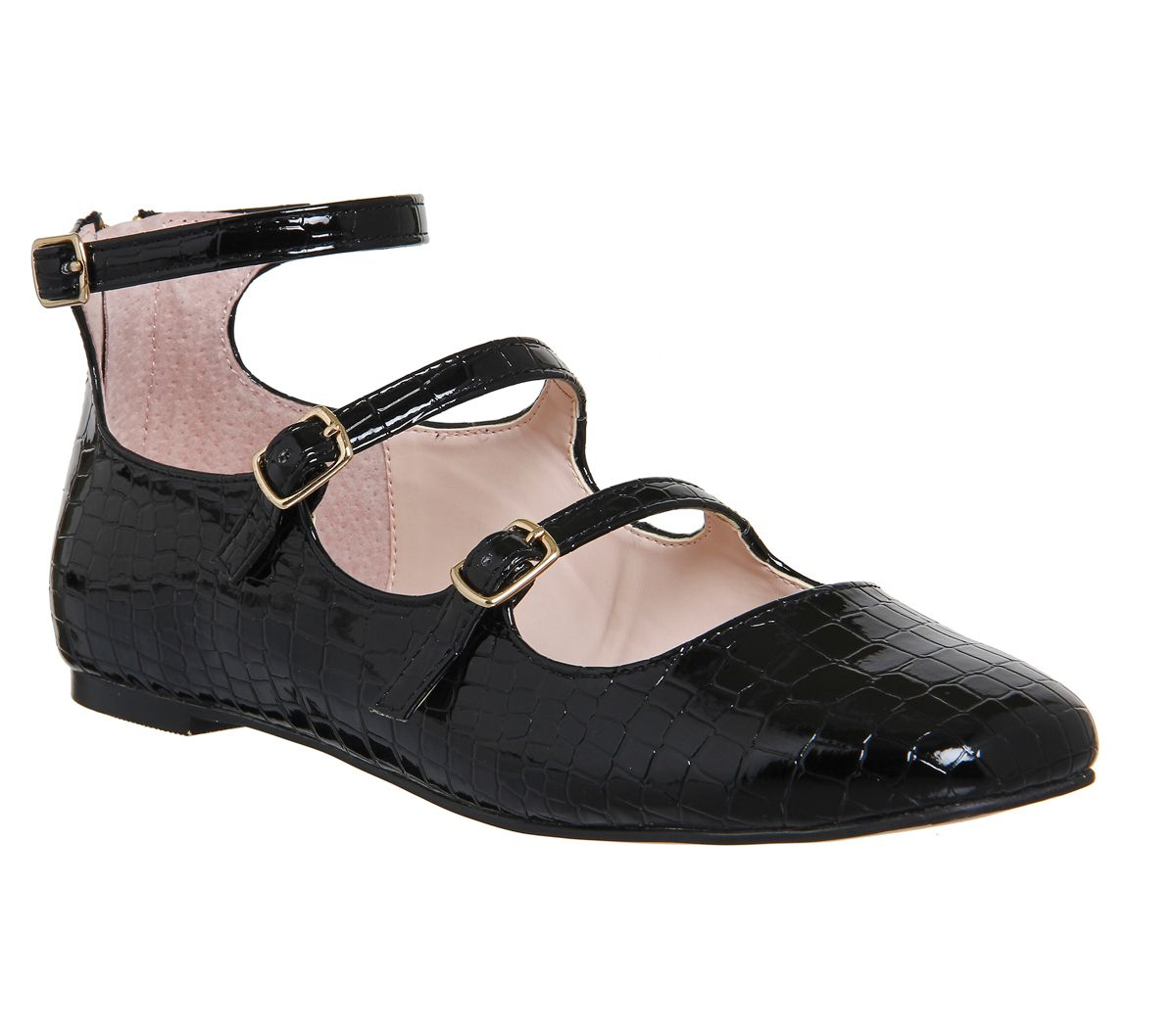 Office Phoenix mary jane flats Black Patent £40.00 AT vintagedancer.com