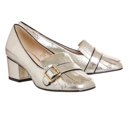 Office Fringe block heel loafers