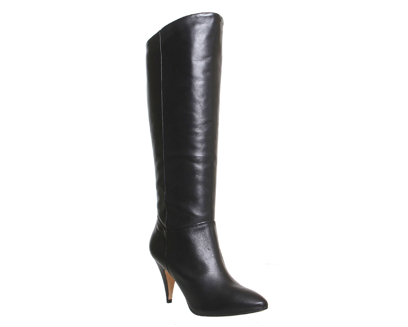 Office Kiss slouch heeled knee boots Black Leather