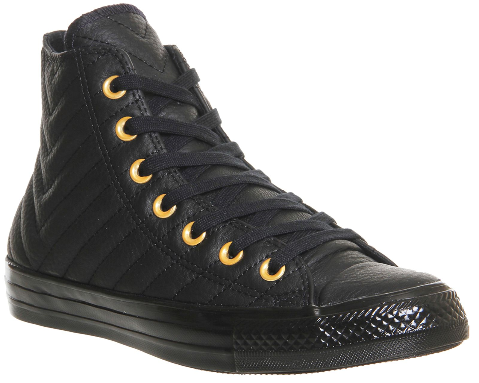 Converse All star hi leather trainers Black Gold