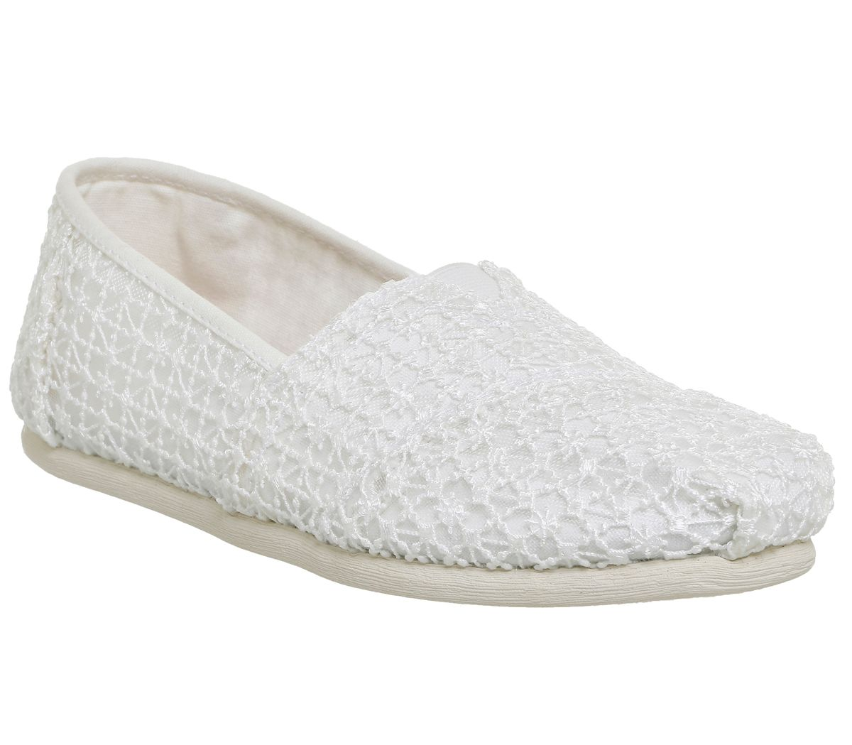 Toms seasonal classic slip on pumps white octer for Quality classic house of fraser