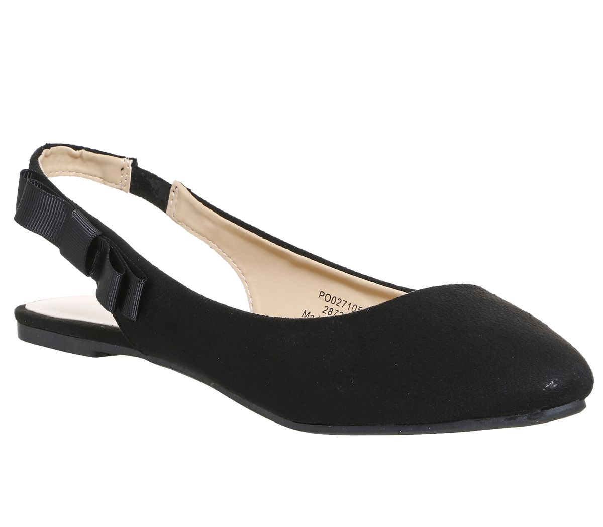 Office Frappe Slingback Bow Flats, Black