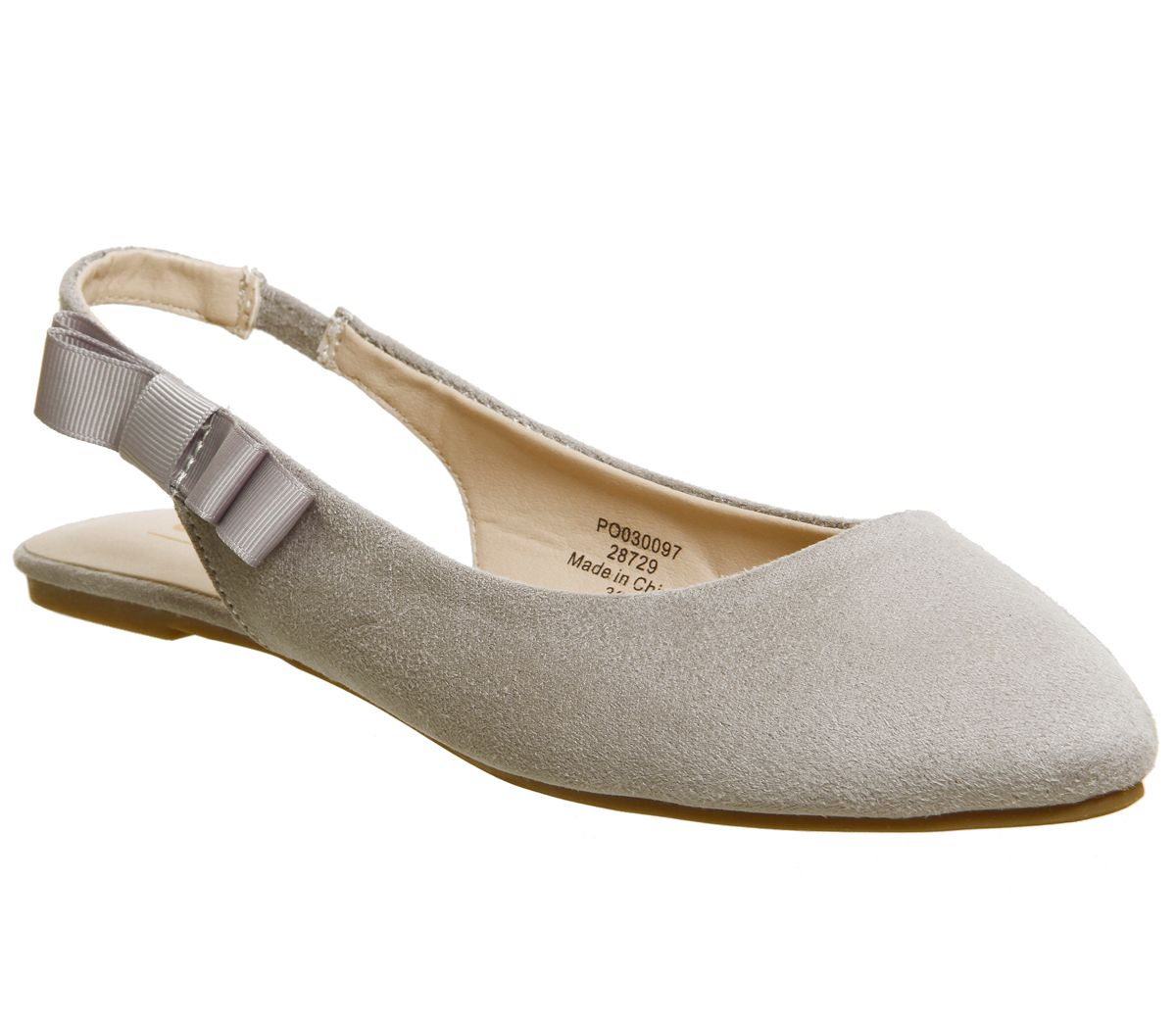 Office Frappe Slingback Bow Flats, Grey