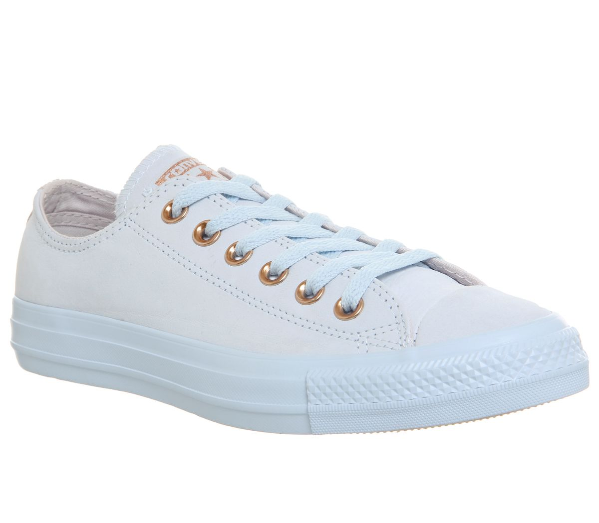 Converse All Star Low Leather Trainers, Pale Blue