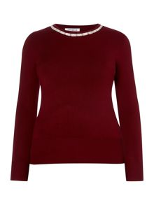 Annabelle Plus Size Jumper With Diamonte Detail