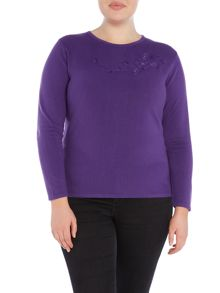 Plus Size Jumper With Floral Design