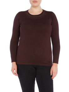 Plus Size Diamonte Detail Neckline Jumper