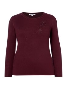 Plus Size Jumper With Diamonte Detail