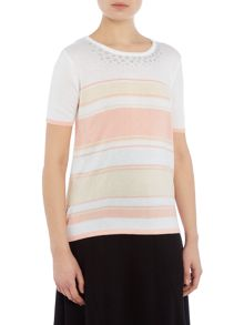 Annabelle Strpied Short Sleeved Jumper