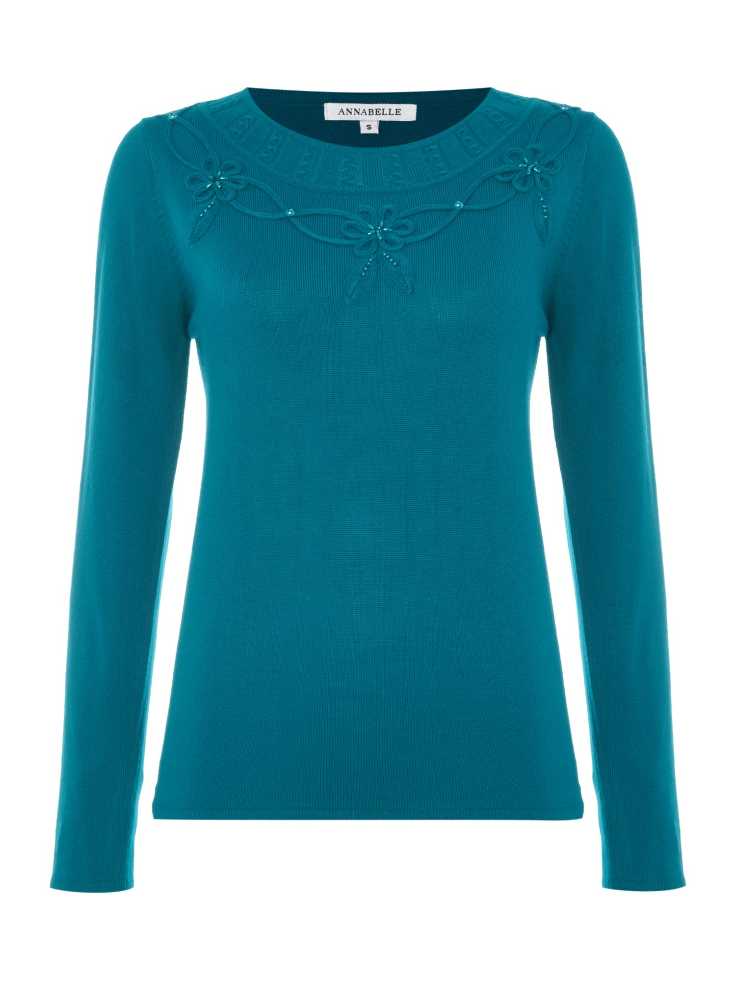 Annabelle Annabelle Embellished Knitted Jumper, Green