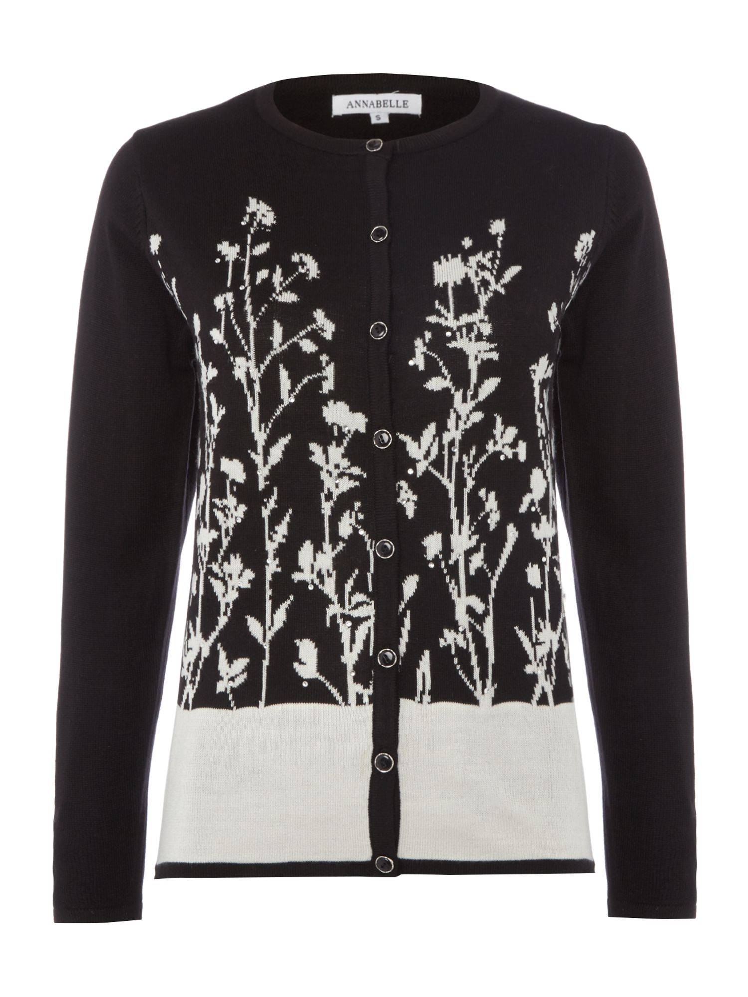Annabelle Annabelle Printed knitted cardigan, Black