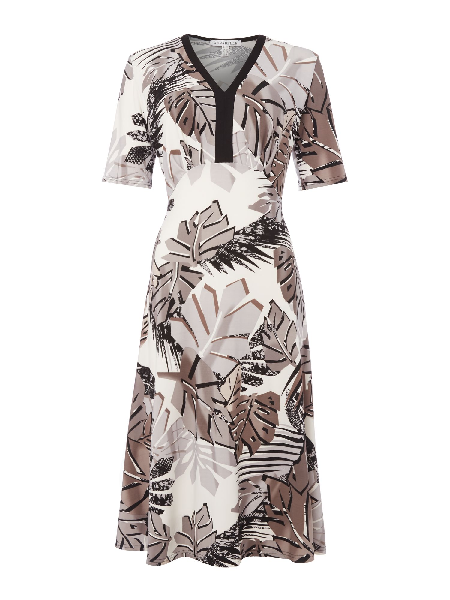 Annabelle Annabelle Printed Fit and Flare Dress, Beige