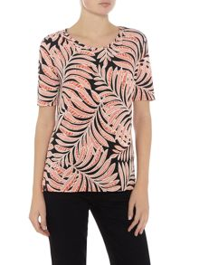 Annabelle Laquered Leaf print Top