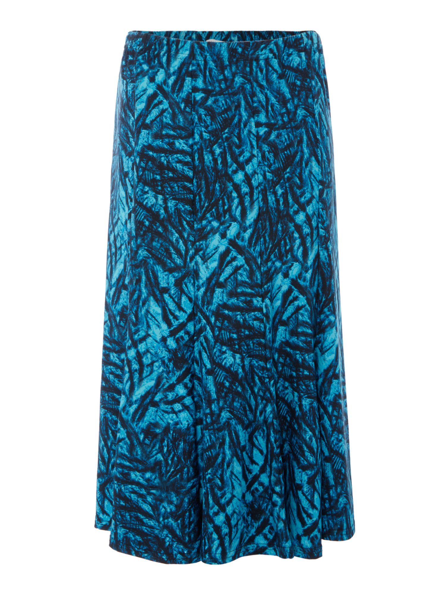 Annabelle Fit and Flare Printed Skirt, Blue