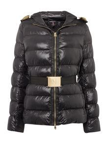 Padded fur hood jacket