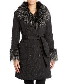 Fur collar quilted coat