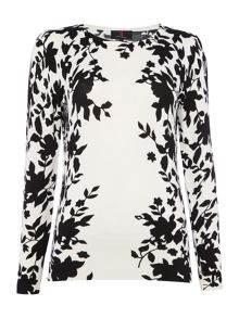 Simon Jeffrey Monochrome Border Print Jumper