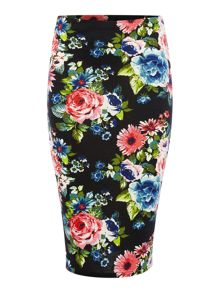Simon Jeffrey Floral print pencil skirt