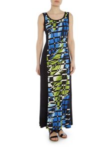 Simon Jeffrey Printed Paneled Maxi Dress