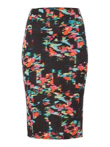 Simon Jeffrey Multi Print Ponte Pencil Skirt