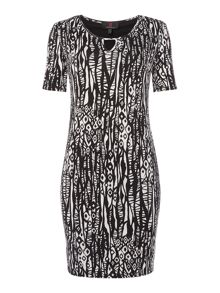 Simon Jeffrey Monochrome Keyhole Dress