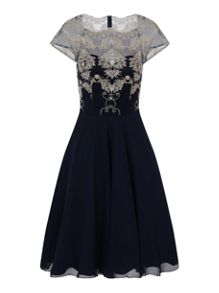 Chi Chi London Embroidered Mesh Midi Dress