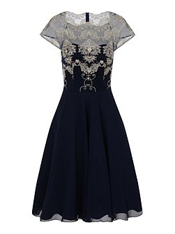 Embroidered Mesh Midi Dress