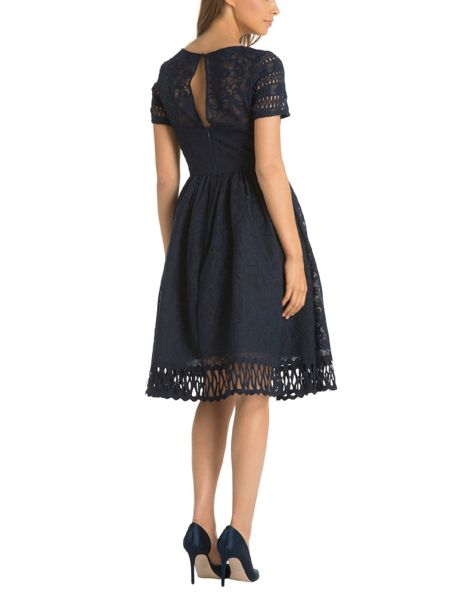 Chi Chi London Cap Sleeve Laser Cut Dress