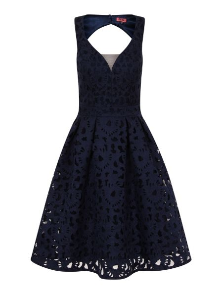 Chi Chi London Laser Cut Plunge Front Midi Dress