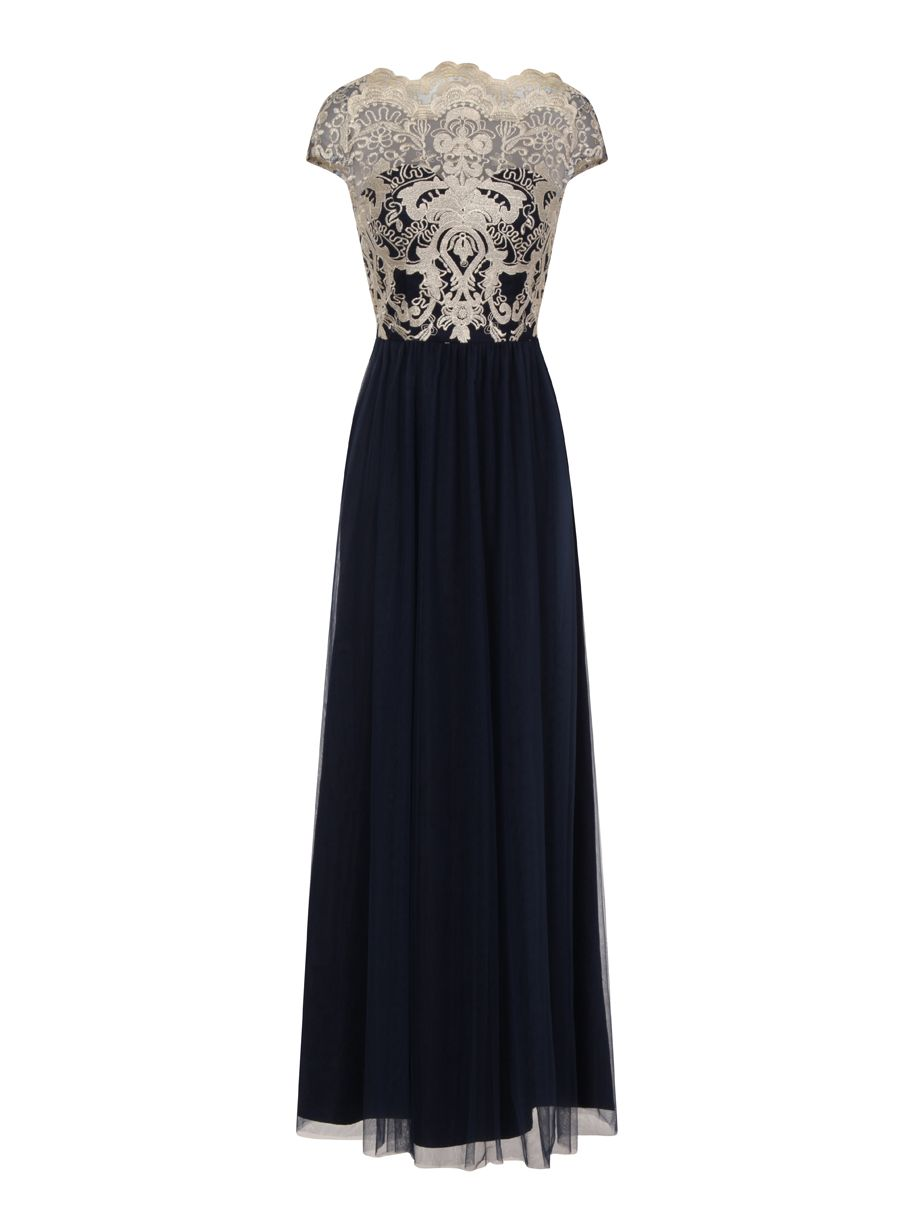 Chi Chi London Embroidered Lace Maxi Dress, Blue