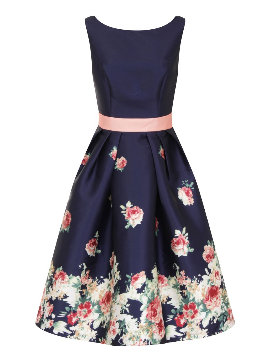 Chi Chi London Digital Floral Block Print Midi Dress, Blue