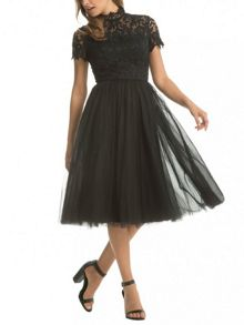 Chi Chi London Lace High Neck Skater Dress