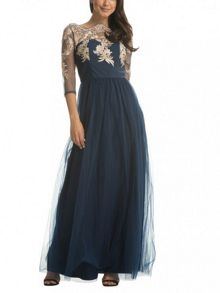 Chi Chi London Embroidered bodice maxi dress