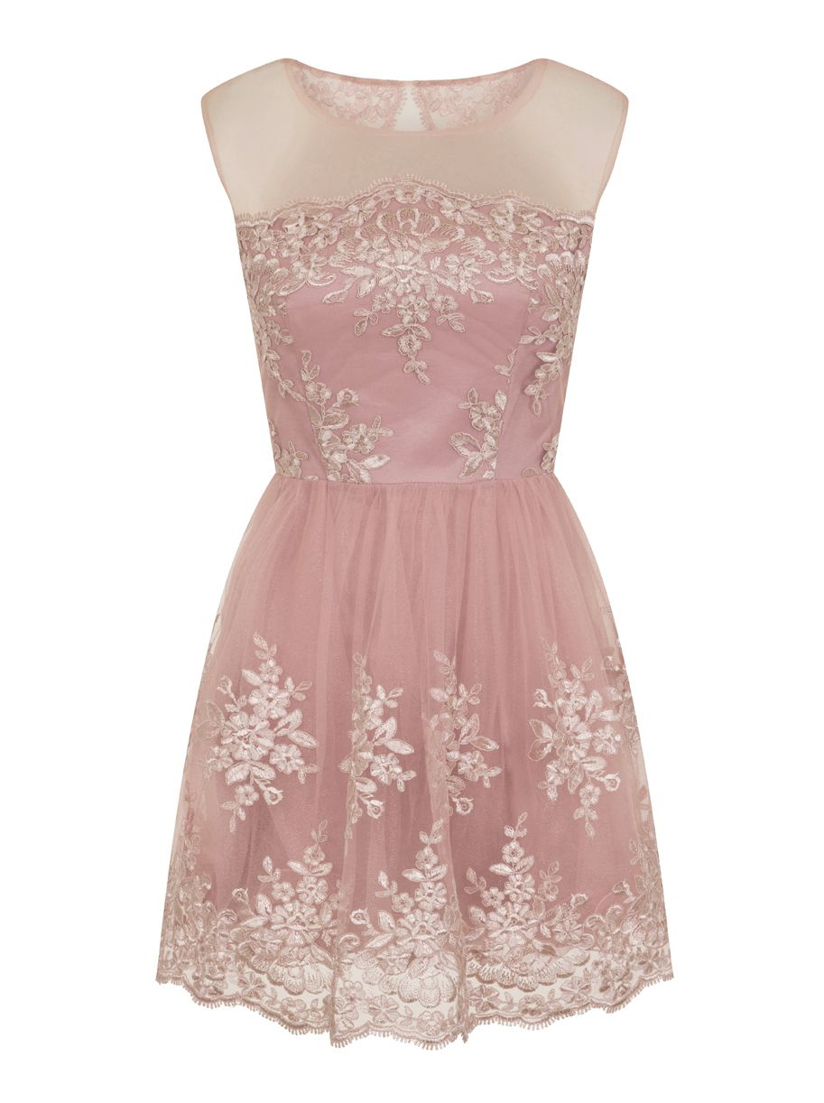 Chi Chi London Embroidered Mini Dress, Pink