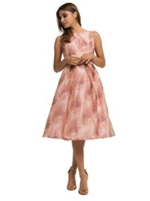Chi Chi London Floral Print Organza Midi Dress