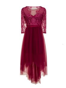 Chi Chi London Embroidered dip hem dress