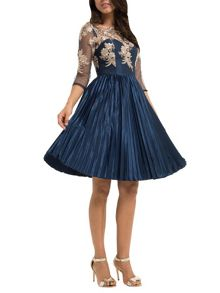 Chi Chi London Embroidered bodice midi dress