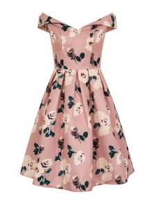 Chi Chi London Floral Print Fold Over Bardot Midi Dress