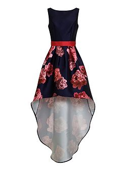 Digital Floral Print High Low Dress