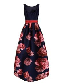 Chi Chi London Digital Floral Print High Low Dress