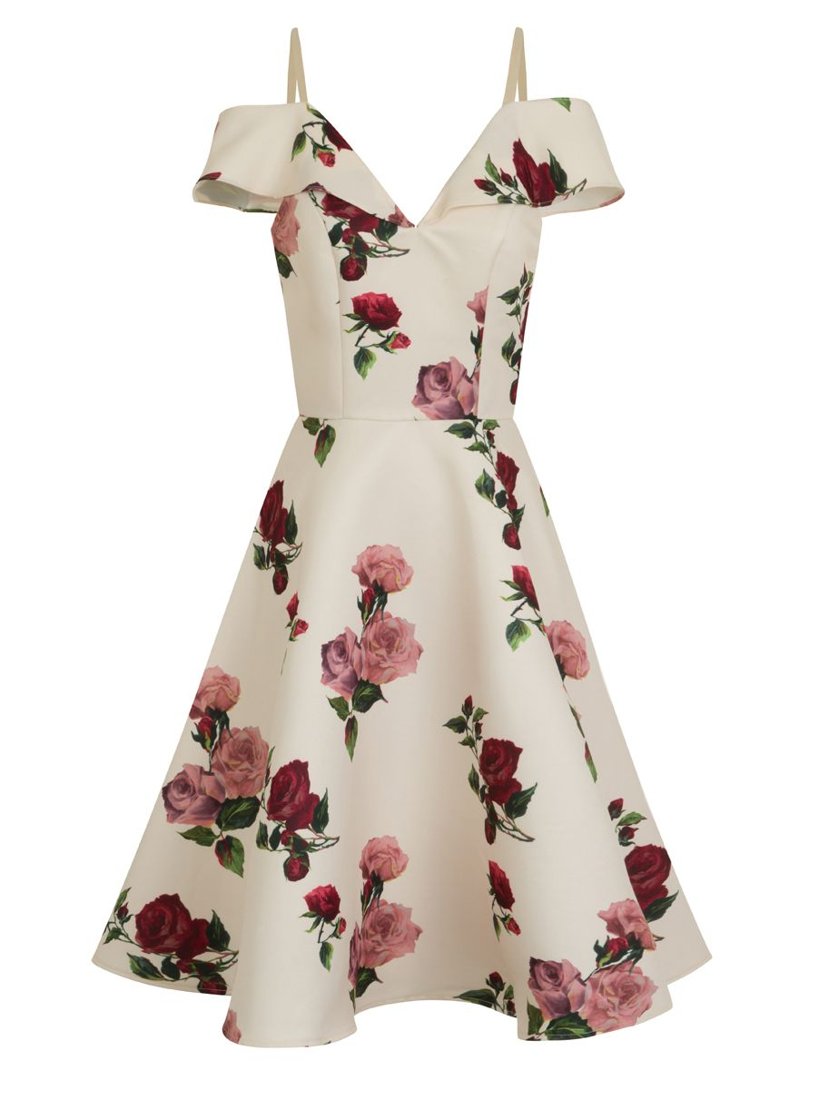 Chi Chi London Floral print cold shoulder midi dress, Cream