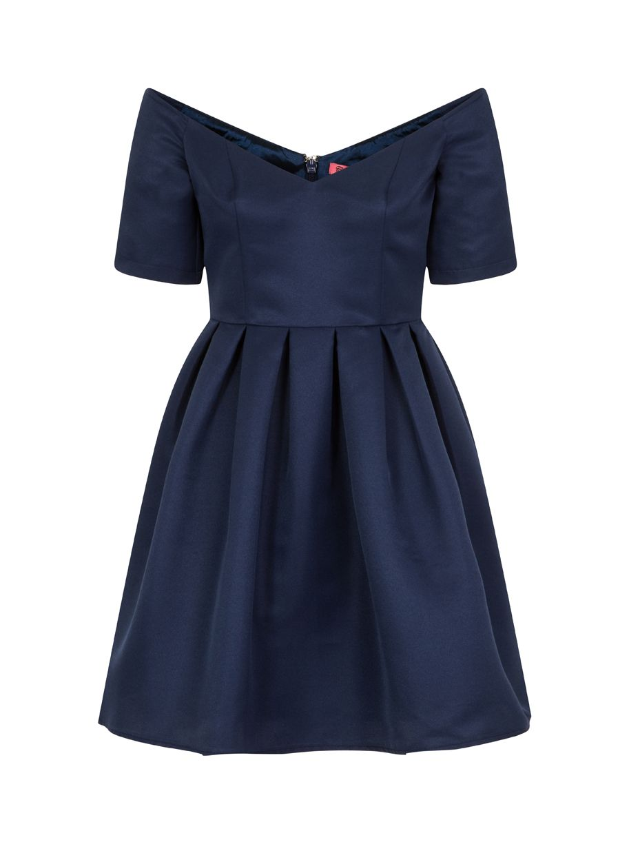 Chi Chi London Bardot skater dress, Blue