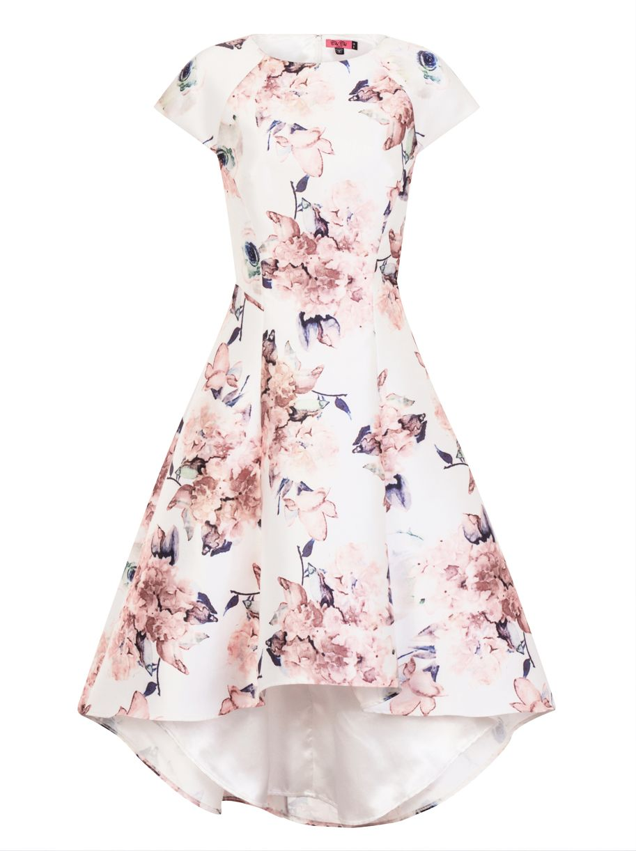 Chi Chi London Floral Print Dip Hem Dress, White
