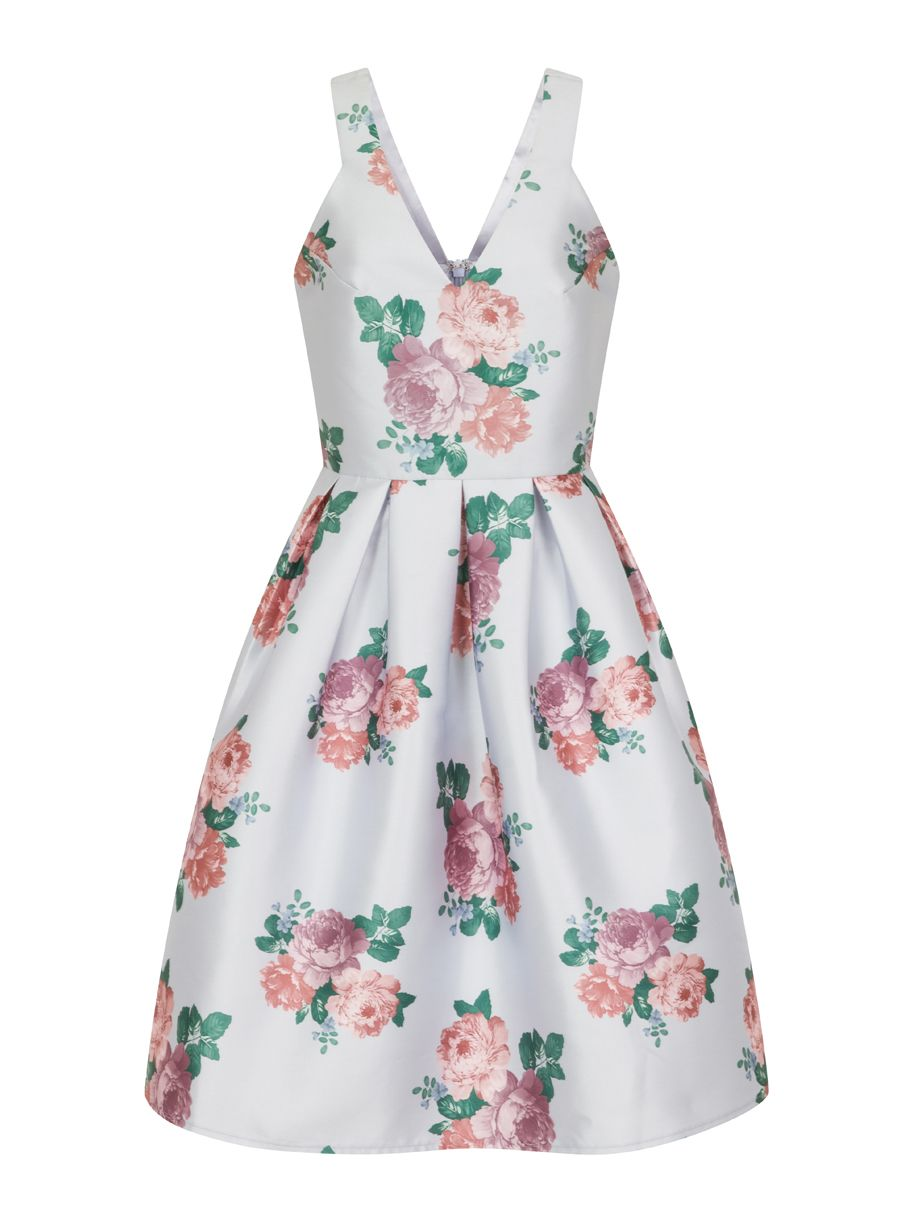 Chi Chi London Digital floral print midi dress, Lilac