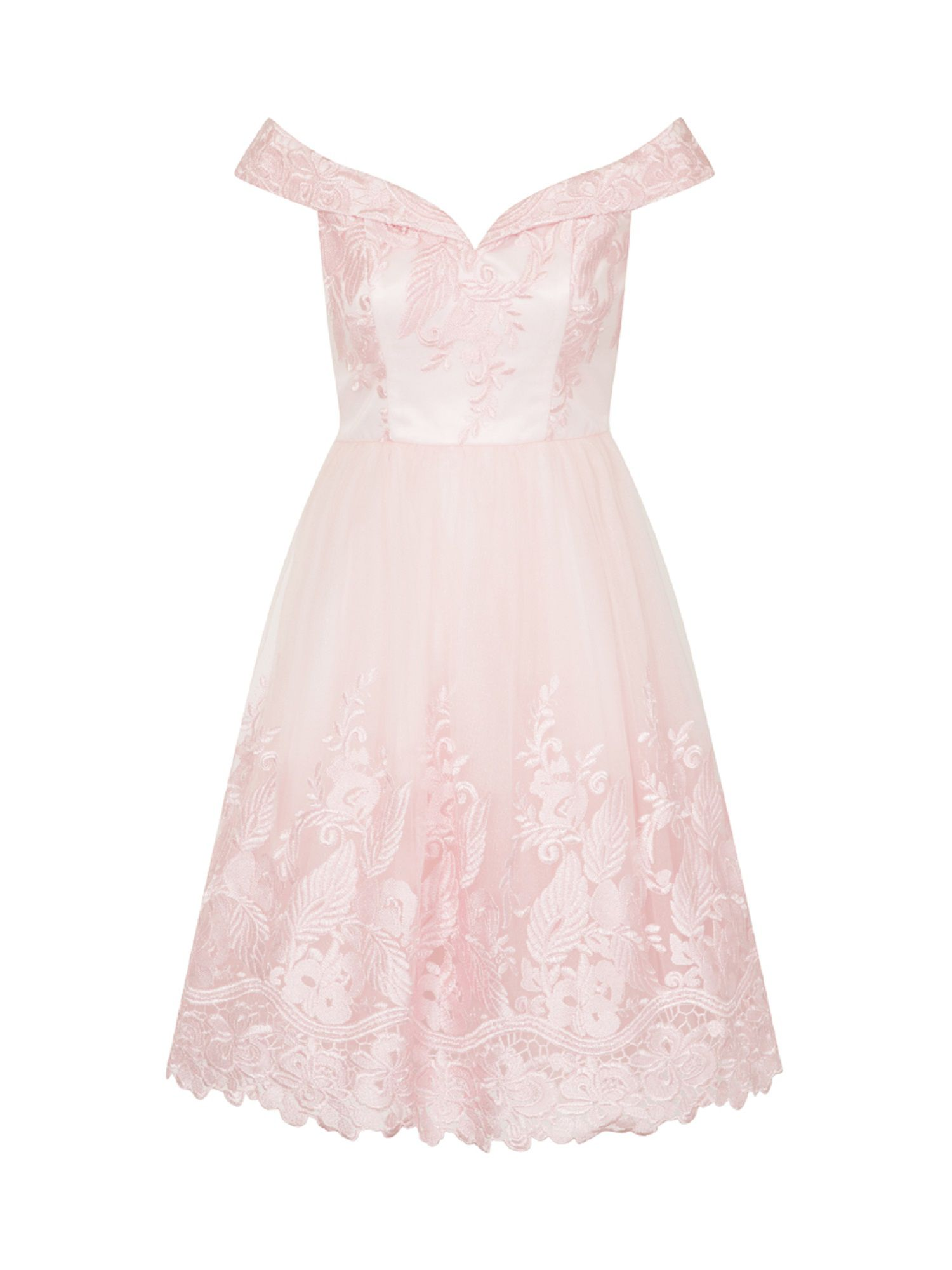 Chi Chi London Embroidered Bardot Midi Dress, Pink