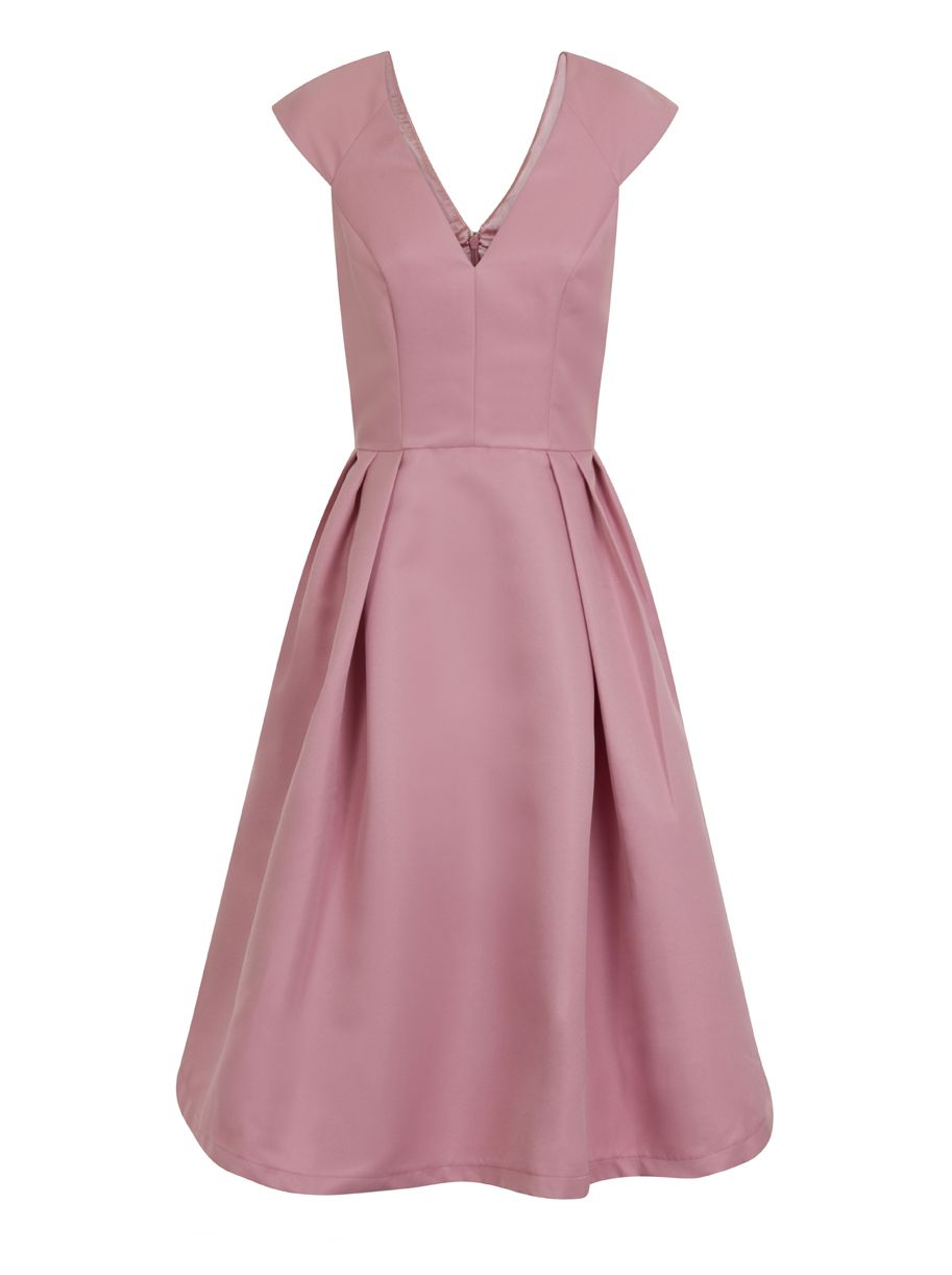 Chi Chi London Plain V-Neck midi dress, Pink
