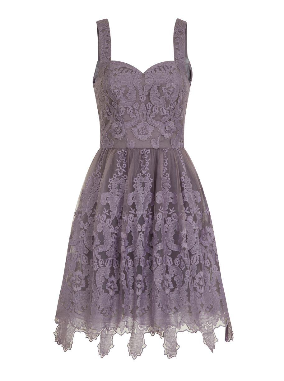Chi Chi London Baroque Style Skater Dress, Purple