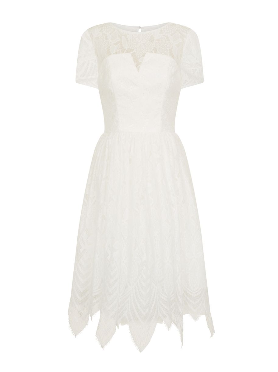 Chi Chi London Lace Detail Midi Dress, White