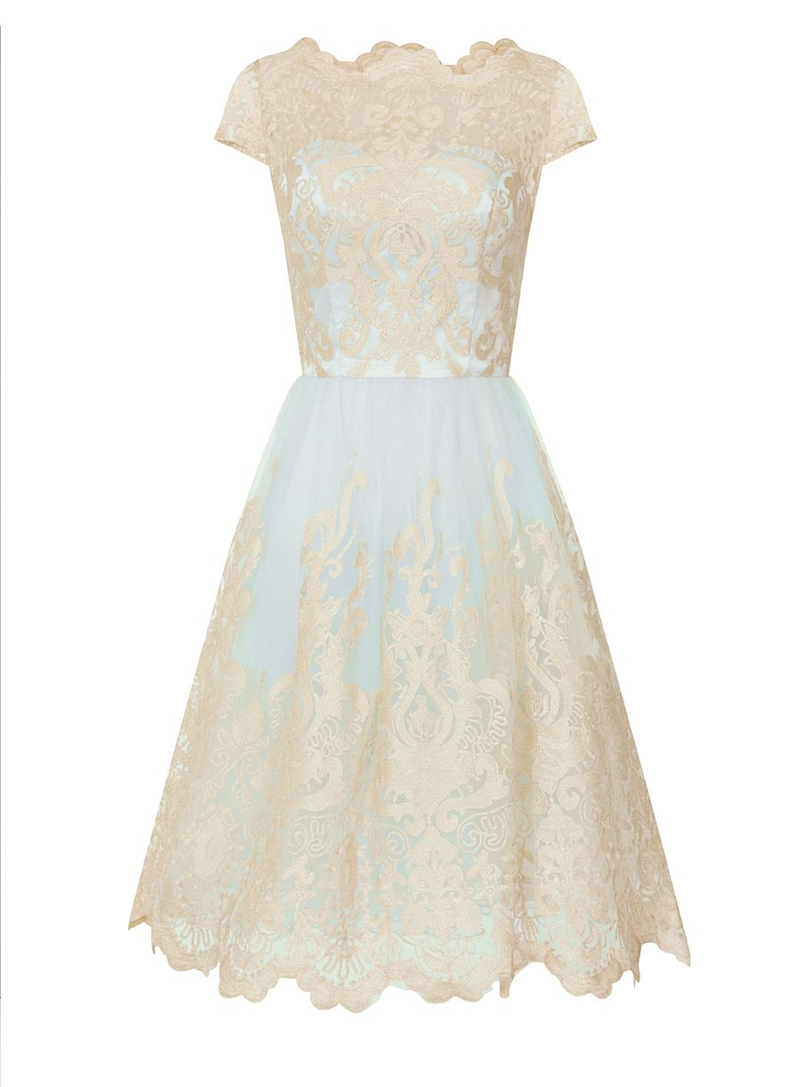 Chi Chi London Cap Sleeve Baroque Style Tea Dress, Blue