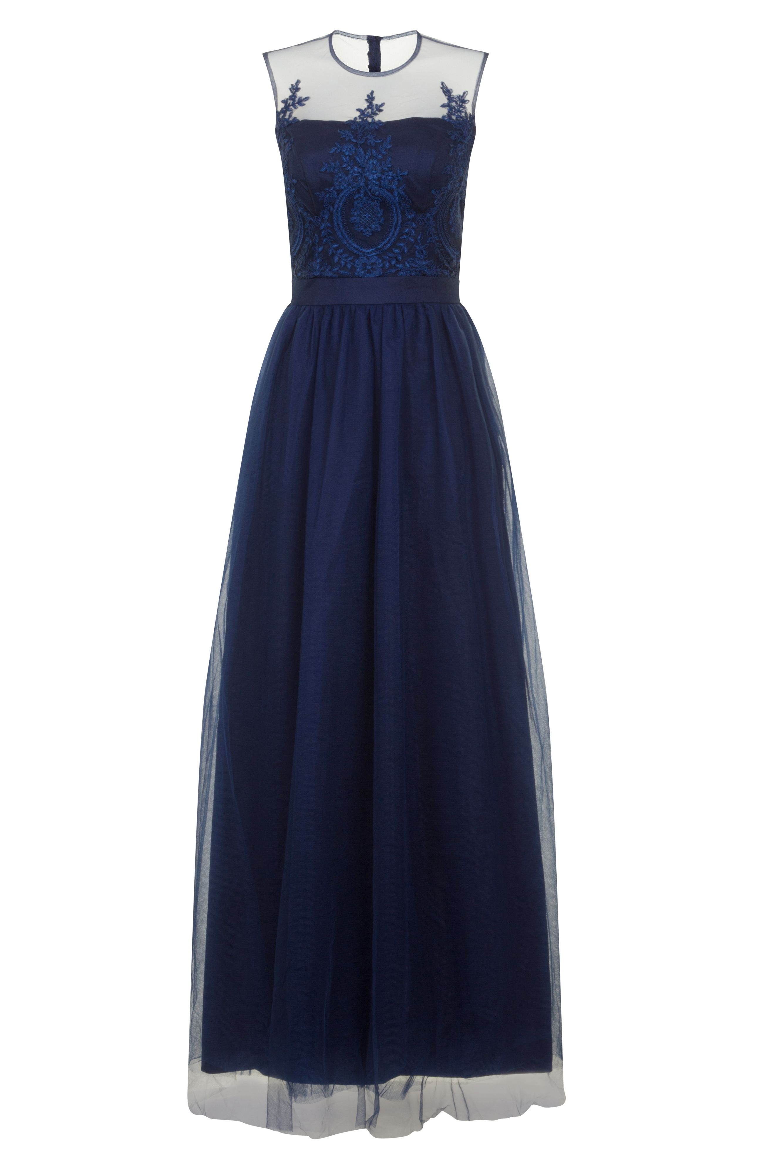 Chi Chi London Embroidered Maxi Dress, Blue
